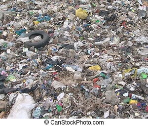Many different waste in dump. Global environmental pollution.