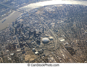 Aerial view of the city of New Orleans, Louisiana - Aerial...