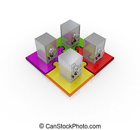 Iron safes standing on a colorful puzzlesIsolated on white...