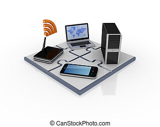 Network concept. Isolated on white background.3d rendered.