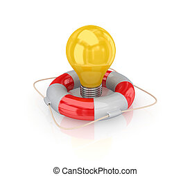 Yellow bulb in a lifebuoy Isolated on white background3d...