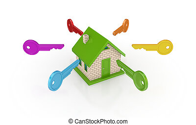 coloré, clés, autour de, petit, maison