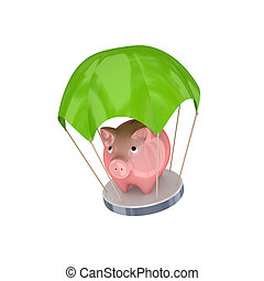 Pink piggy bank at green parachuteIsolated on white...
