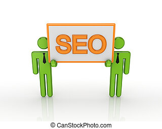 3d small people with a word SEO.