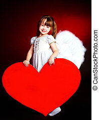 cute girl with a heart - cute little girl with angel wings...
