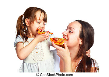 mother and daughter eating pizza - young mother and her...