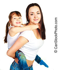 happy mother and daughter - happy family, young beautiful...