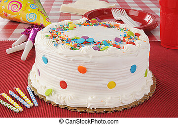 Birthday Cake - A barthday cake with party streamers,...