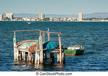 San Pedro bay - Fishing boats in San Pedro bay, Mar Menor,...