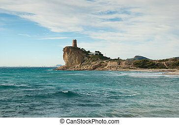 Watchtower - Historic watchtower on the Mediterranean,...