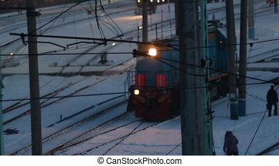 train in snowy night