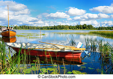 Swedish lake - A beautiful summer landscape on the banks of...