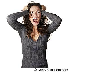 frustrado, zangado, mulher, gritando