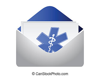 envelope with medical symbol
