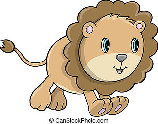 Cute Lion Cub Animal Vector