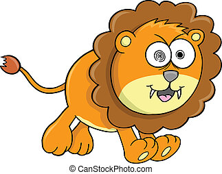 Crazy Orange Lion Animal Vector