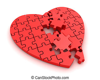 Broken Heart - 3D Illustration of a Broken Jigsaw Puzzle