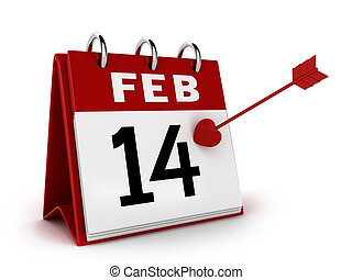 Valentines Day Calendar - 3D Illustration of a Calendar with...