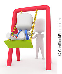 Kid Being Pushed on a Swing - 3D Illustration of a Kid Being...