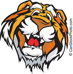 Smiling Cartoon Tiger Mascot Vector