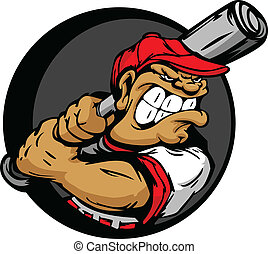 Tough Baseball Player Holding Baseb - Baseball Cartoon...