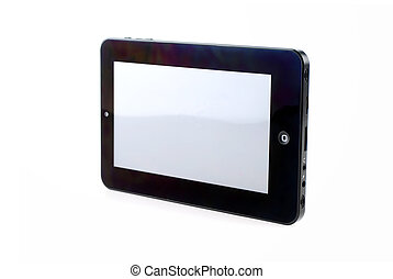 Isolated tablet with blank screen on white background