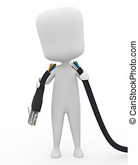 Disconnected - 3D Illustration of a Man Holding a Torn Cable