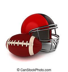 Footbal and Football Helmet - 3D Illustration of a Footbal...