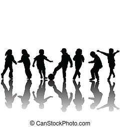 Silhouettes of children - Hand made drawing silhouettes of...