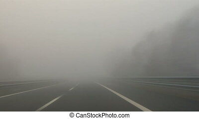 Highway fog 01 - Driving in the fog