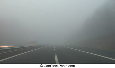 Highway fog 03 - Driving in the fog