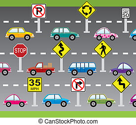 vector cars and road signs