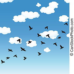 vector flying birds and clouds in the sky - vector flock of...