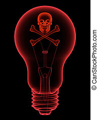 Red lightbulb with skull and crossbones x-ray silhouette on...