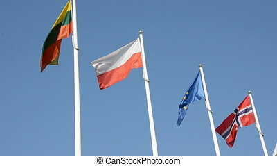 flags in the wind and sky background