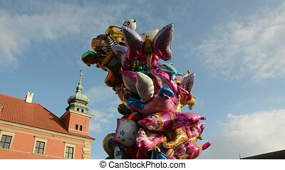 colorful Sunday balloons in Warsaw capital Poland