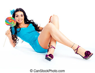 girl with a lollipop - beautiful young brunette woman with a...