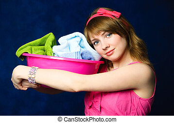 tired housewife - beautiful young tired housewife with a...