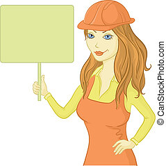 Girl worker holding a sign