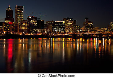 Portland Oregon at night. - Portland Oregon skyline at...