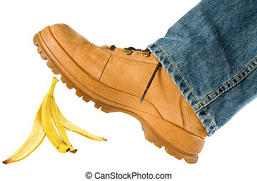 Man stepping on banana peel isolated on white background