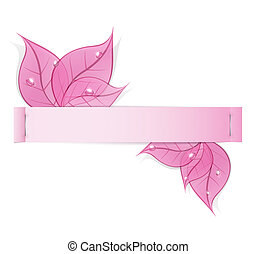 paper strip with pink leaves and drops of dew on a white background