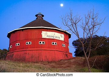 Round red barn at Fountaingrove Santa Rosa, California
