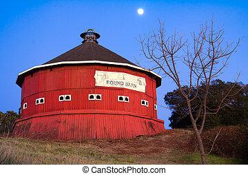 Round red barn at Fountaingrove Santa Rosa, California