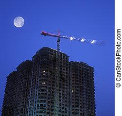 建設, 站點, 夜晚