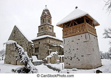 Densus Church in Romania, at winter