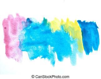 coloridos, aquarela, escova, golpes