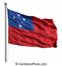 Flag of Samoa. Rendered with fabric texture (visible at...