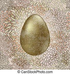 Wektor, złoty, Wielkanoc, jajko, seamless, kwiatowy,...