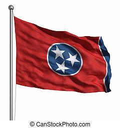 Flag of Tennessee Rendered with fabric texture visible at...